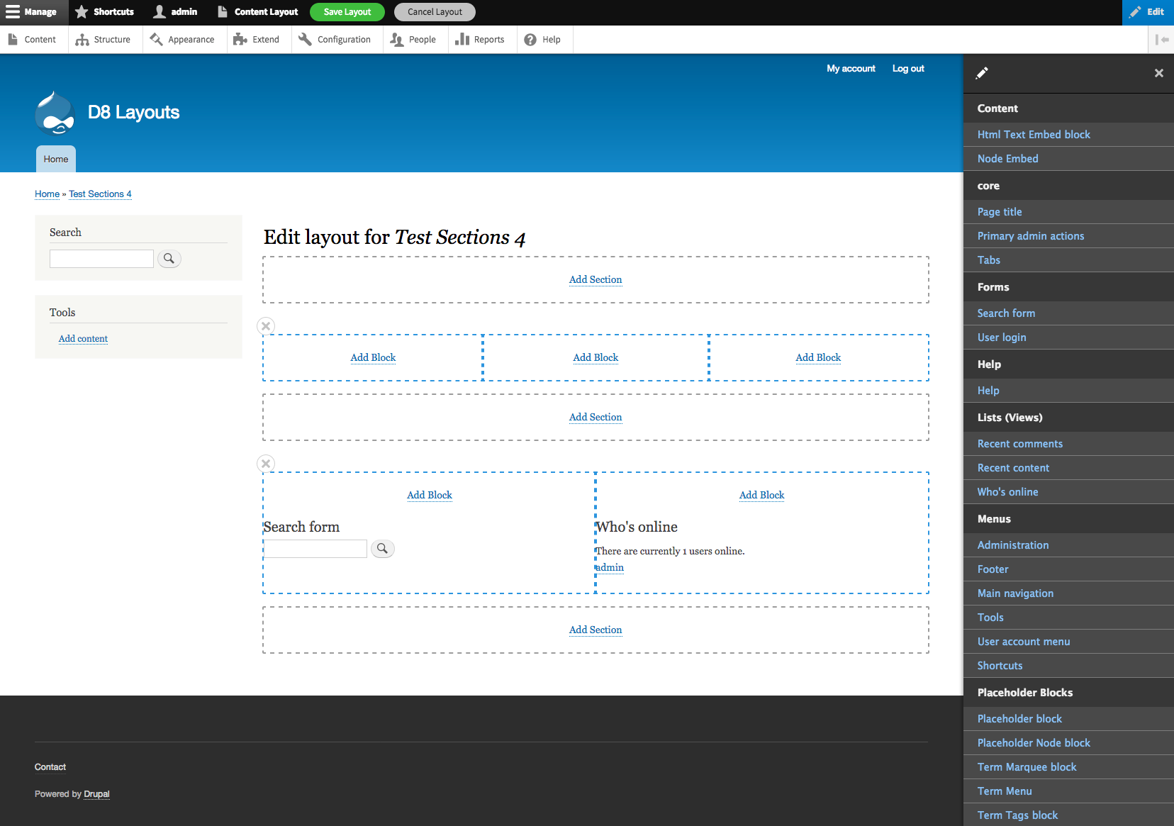 Drupal 8 lay-out interface