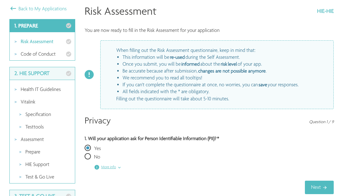 Screenshot of the HIE application for certified apps