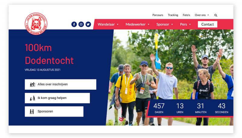 Homepage nieuwe website 100km Dodentocht
